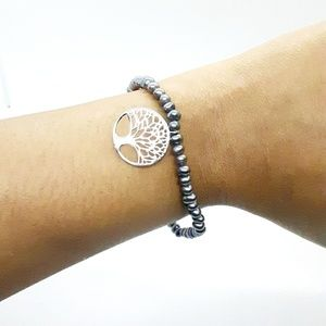 Jewelry - Fresh Water Pearl with Silver Charm Bracelet